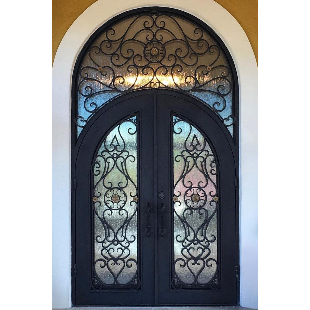 Hot Sell Home Front Arch Entrance Glass Screen Security Door Exterior House Residential Entry American Iron Steel Doors