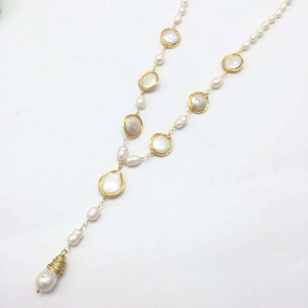 Factory directly sale fashion new arrival long baroque pearl pendant necklace