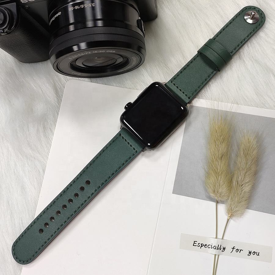 Eco-Friendly Resistant Microfibre Watch Strap WatchBands For Apple Series 3 4 5 Waterproof Leather Watch Wrist Bracelet
