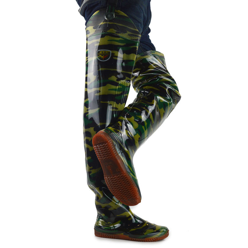 Fashion Rubber Boots Camo Outdoor Boots Waterproof Rubber Rain Boots膝高