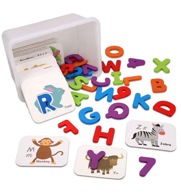 Amazon hot sale montessori wooden alphabets and numbers animal flash cards board matching puzzle educational toys for kids