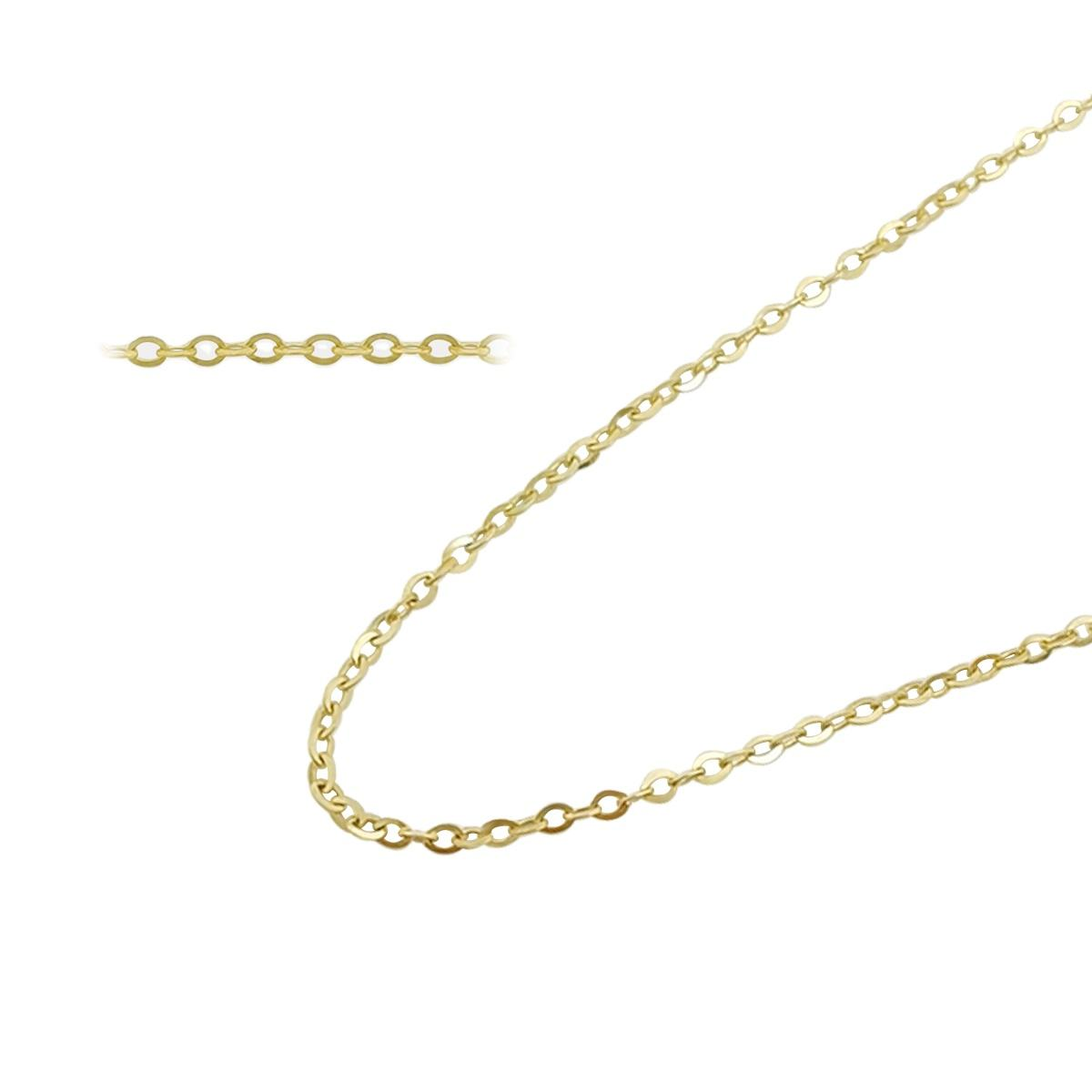 Wholesale Solid Gold Chain Women Necklace,Thin Flat Cable Chain 9K 14K 18K Real Gold Tiny Chain Link Necklace Jewelry