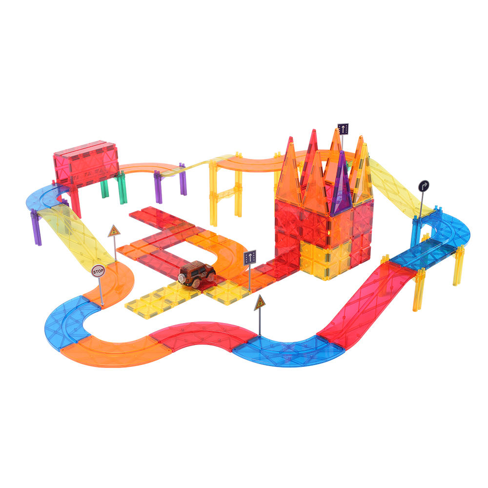 Factory Direct Wholesale Custom 113pcs Car Race Track BPA Free Magnetic Tiles Building Set Kids Educational Toys