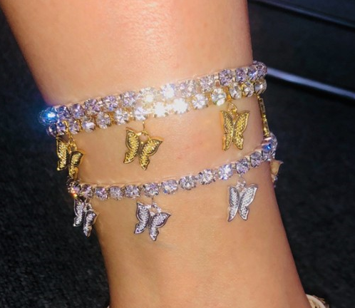 Summer new design gold butterfly tennis anklet