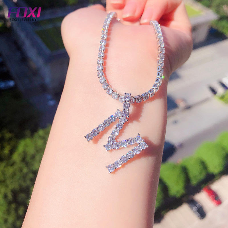 2019 hot sale custom iced out letter pendant silver choker tennis chain 3mm diamond initial necklace