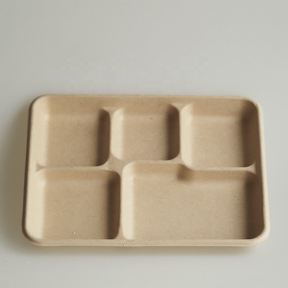 5 compartment biodegradable pulp food tray