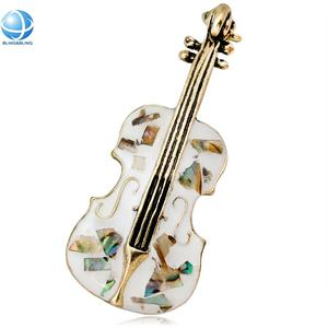 Shell emaille cello viool muziek broche pin voor party meeting kleding decoratie