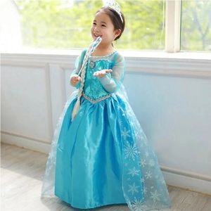 Frozen Elsa Anna Costume Elsa 2 Dress Halloween Girls' Dresses With Sequined