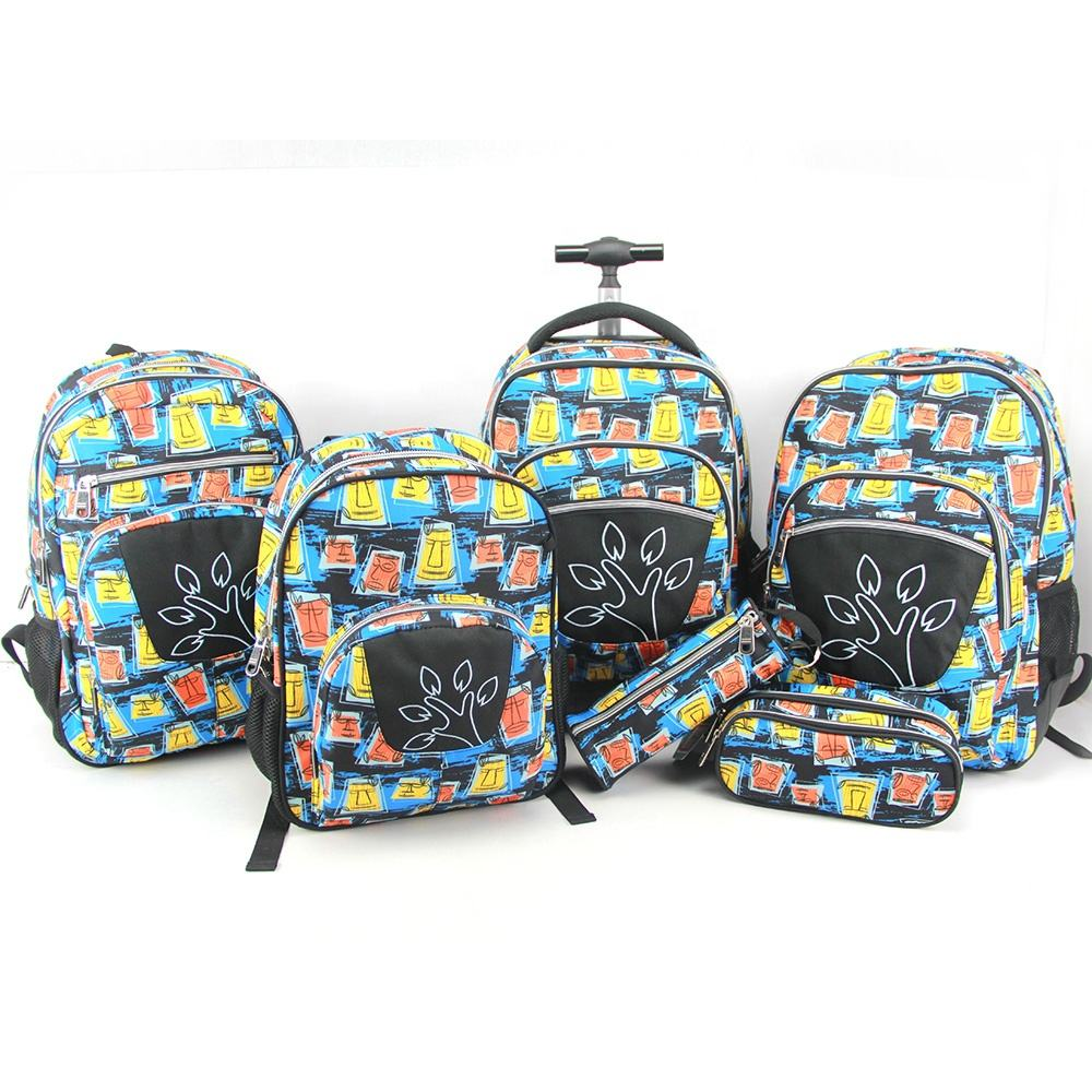 2020 Hot selling cheap child rucksack backpack with trolley schoolbag sets