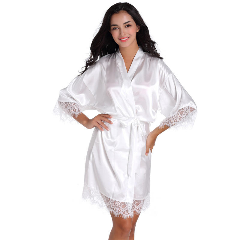 Factory spot wholesale Confortable Lace real silk Ladies Sleepwear Pajamas Sexy Night Gown Kimono For Brides Robe soiree