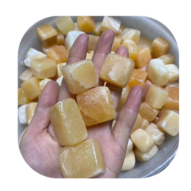 Hengmei decorative stones natural Buff Beige topaz quartz crystal cube bulk tumbled stone for crystals healing stones
