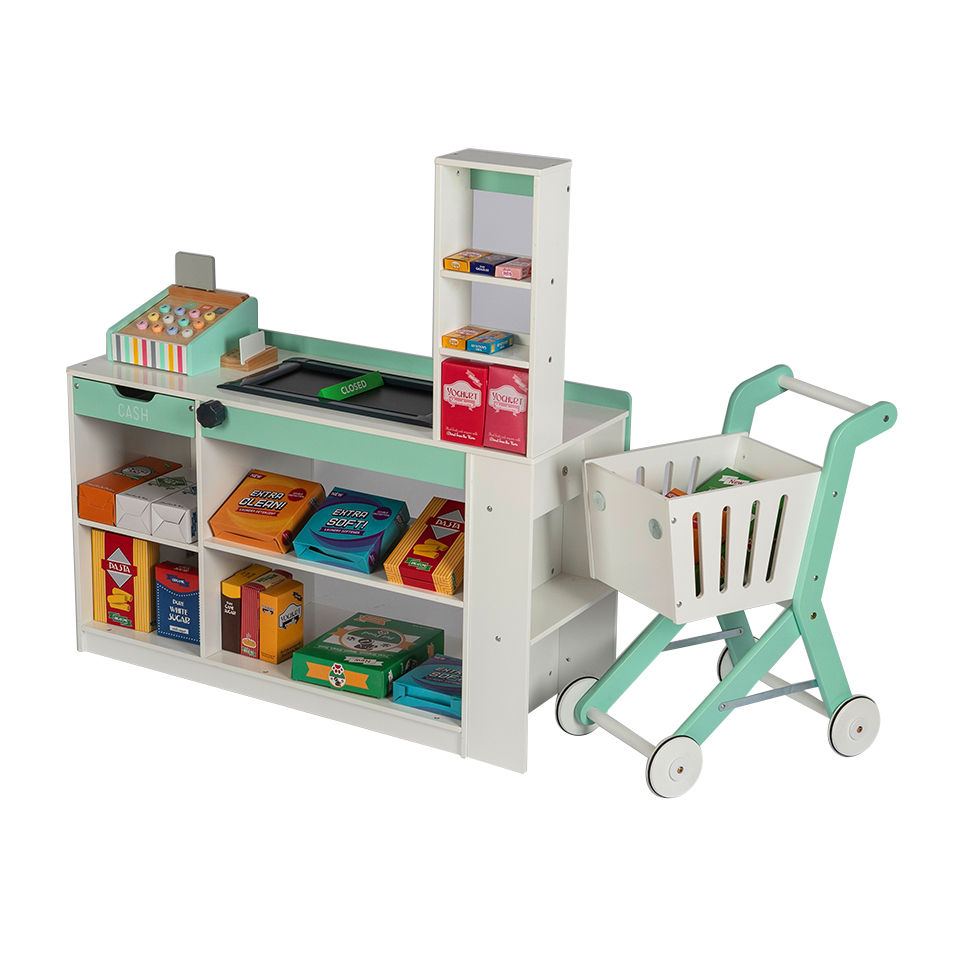 deluxe supermarket stall with trolley and cash register For Children Pretend Play Funny