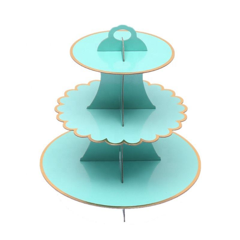 One Set Disposable Gold Foil Paper Cake Stand 3 Layers Cake Dessert Tray Party Cake Display Catering Serving Tools