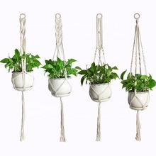 Macrame Wholesale Plant Hangers Indoor Outdoor Flower Hanging Basket Rope Wall Hanging Holder for Modern Garden