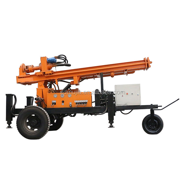Full hydraulic wheeled pneumatic 130 meters portable mobile dth drilling rig