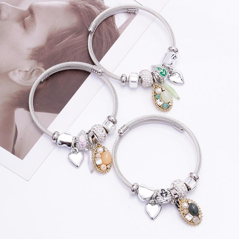 Antique Silver Charm Bracelet Bangle with Love and Flower Beads Women Wedding Jewelry