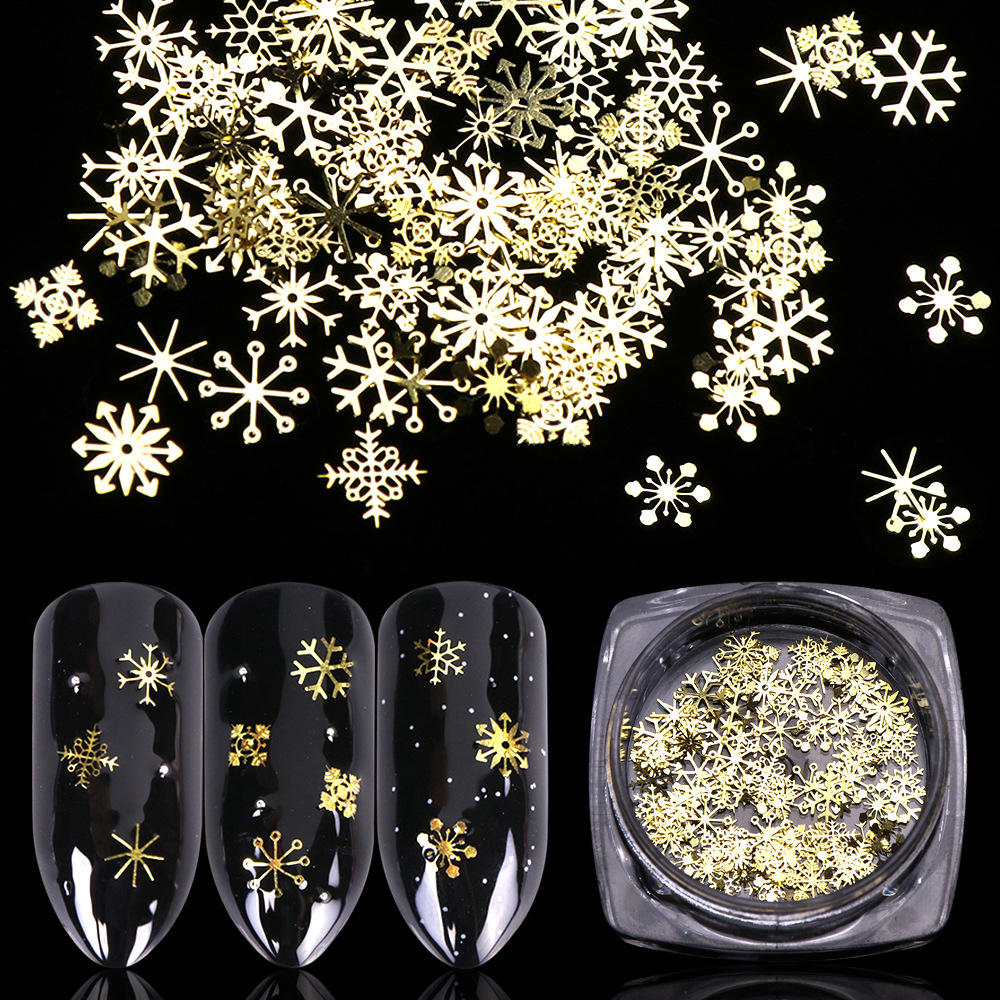 Tszs Hot Koop Gold 3D Gemengde Ontwerp Hollow Metallic Metal Slices Decoratie Sneeuwvlok Kerst 2020 Nail Art