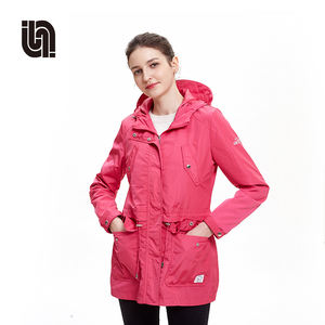 Lady autumn and spring outdoor solid windbreaker waterproof jacket