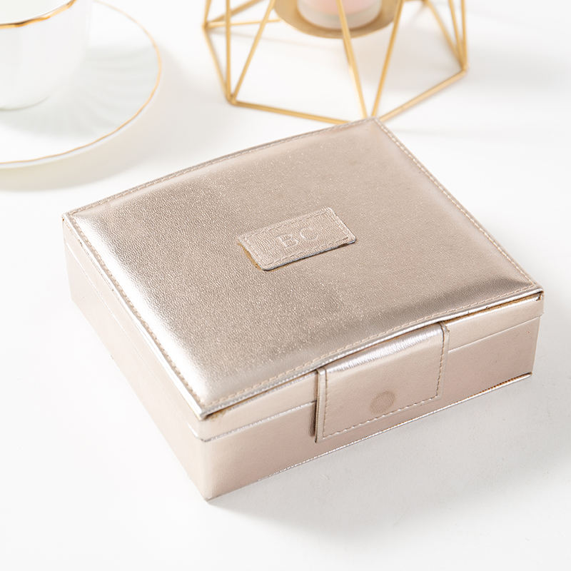 customized pearl PU leather elegant simple jewelry makeup packaging box with mirror for woman