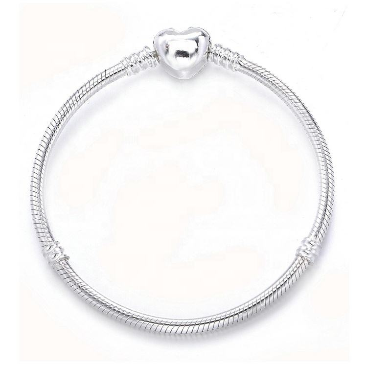 New Arrival Jewelry Sterling Silver Heart Beaded Lock Bracelet