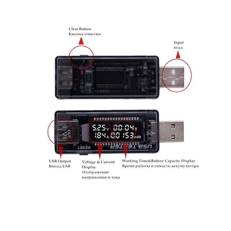Digital Multi Fungsi USB Tester 0-30V Mini Current <span class=keywords><strong>Tegangan</strong></span> Charger Kapasitas Detector Energi Tampilan Digital