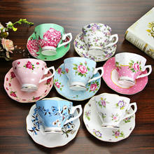 Different flowers bone china coffee cup and saucer  red tea cup and saucer set