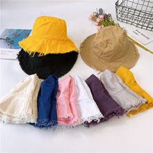 Hot Sale Color Fashion Women Lady Resort Vacation  Distressed Cotton Canvas Outdoor Traveling Sun Cap Cheap Foldable Bucket Hat