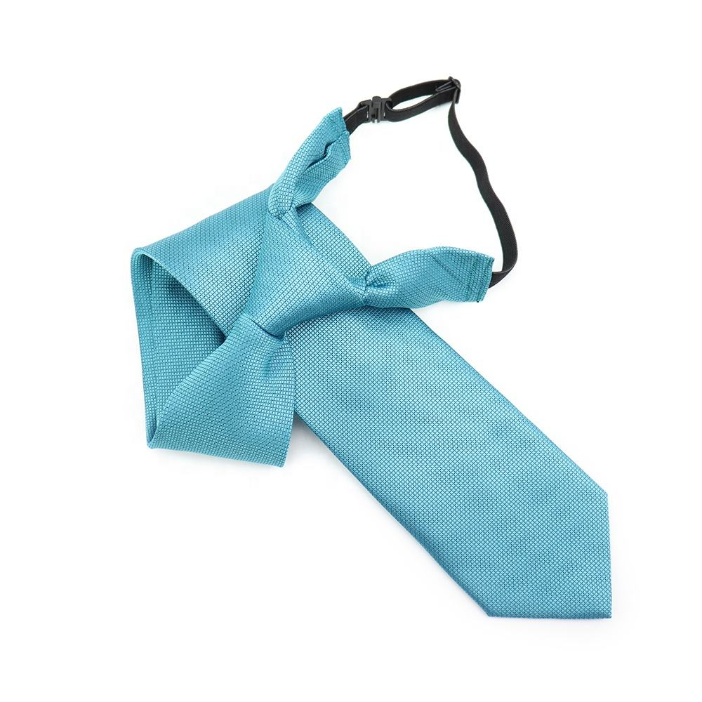Elastic Band Fasten Polyester Neckties Handmade Sky Blue Necktie Checkered Woven Jacquard Wholesale Neckwear