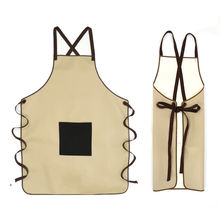 Kitchen apron bibs chef waiter waterproof cooking woman for men cafe shop pu leather apron