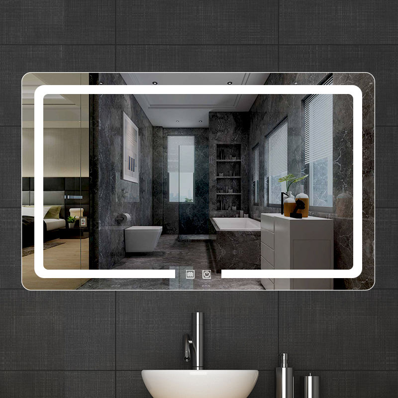 hot sale illuminated Decoration bathroom led wall rectangle mirror with light