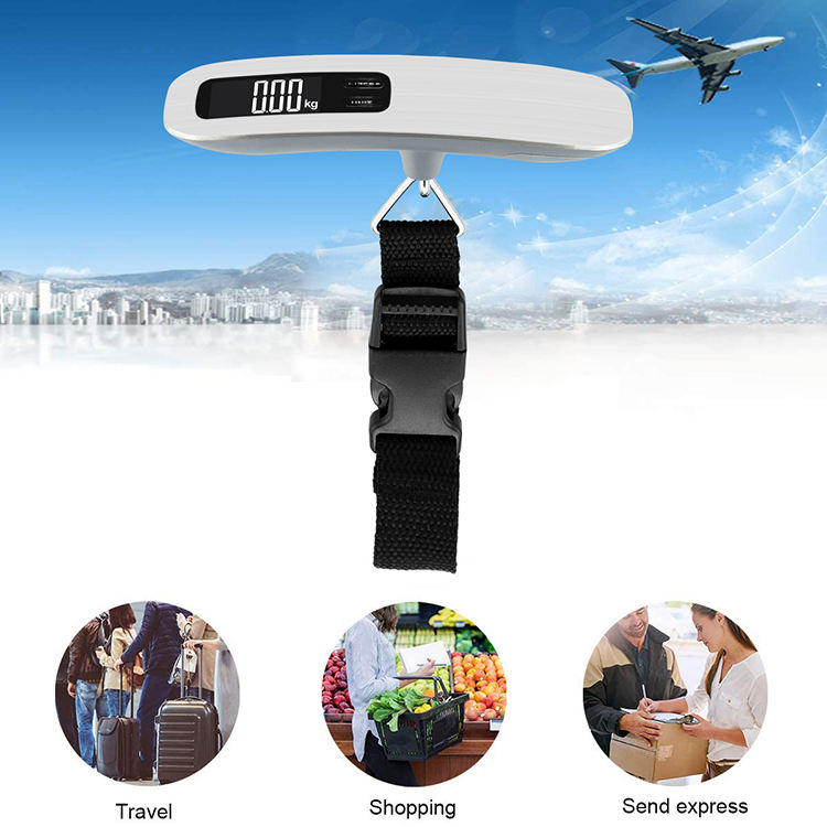 Blacklight LCD digital weighing scale stainless steel digital luggage weight scale 40kg mini electronic hanging luggage scale