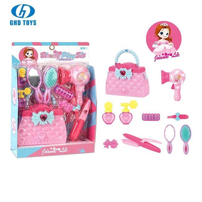 Salón de pelo traje fingir juguete para niñas belleza <span class=keywords><strong>conjunto</strong></span> de navidad perfecto regalos de cumpleaños viene con la maleta