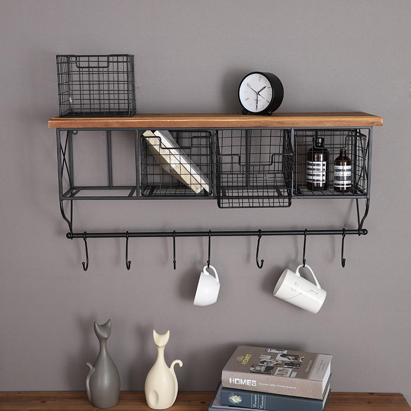 American Country Metal Iron Home Hotel Bar Cafe Kitchen Shelves Wood Wall Decor