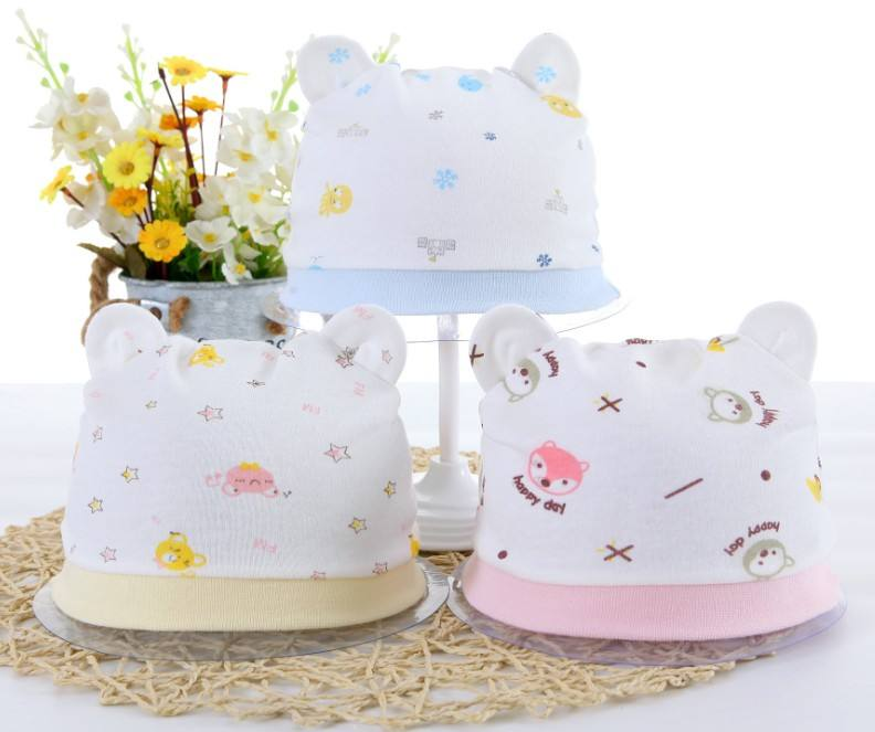 Pure Cotton Caps for new born infants cute cartoon ears beanie baby hat