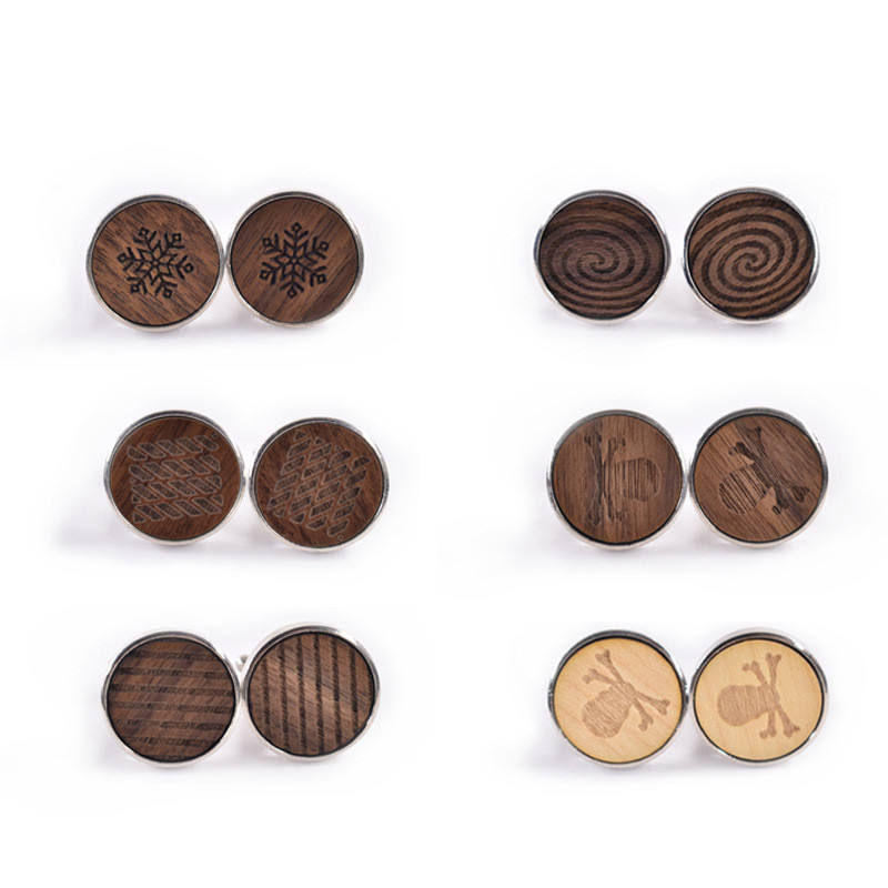 High-end wood jewelry French wooden round cufflinks personalized pattern wood made cufflinks