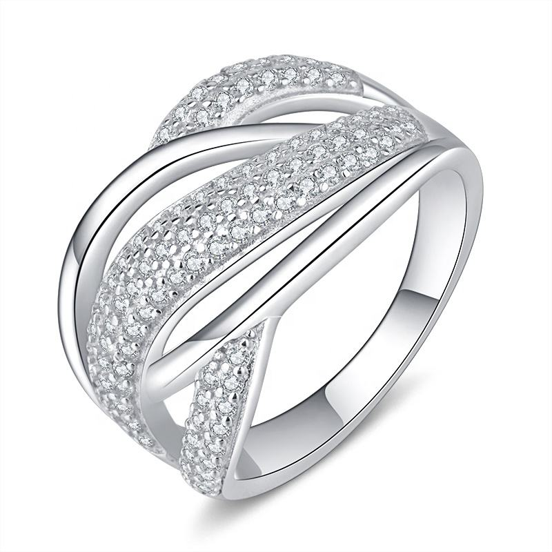Fashion Wholesale 925 Sterling Silver Ring Full Diamond Hollow Lady Wedding Rings