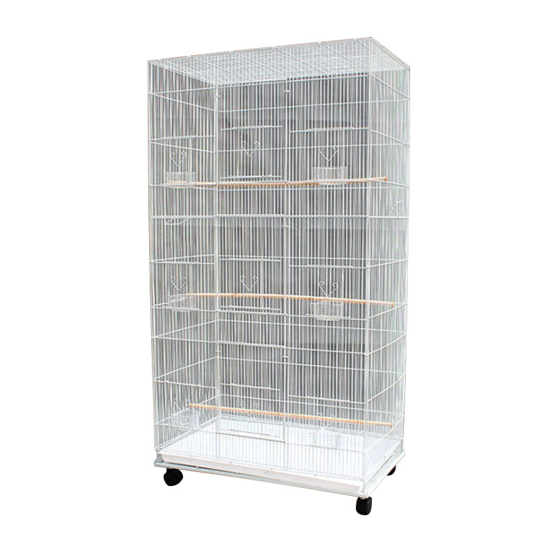 wholesale white bird breeding cages stackable wire metal anti-rust portable pet cage for canary parrot pigeon quails