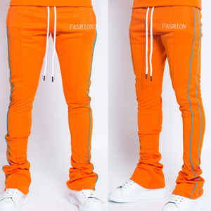 New Arrival Polyester Drawstring Trousers Mens 3M Reflective Line Stripe Skinny Fit Stacked Jogger Sweatpants Men Track Pants