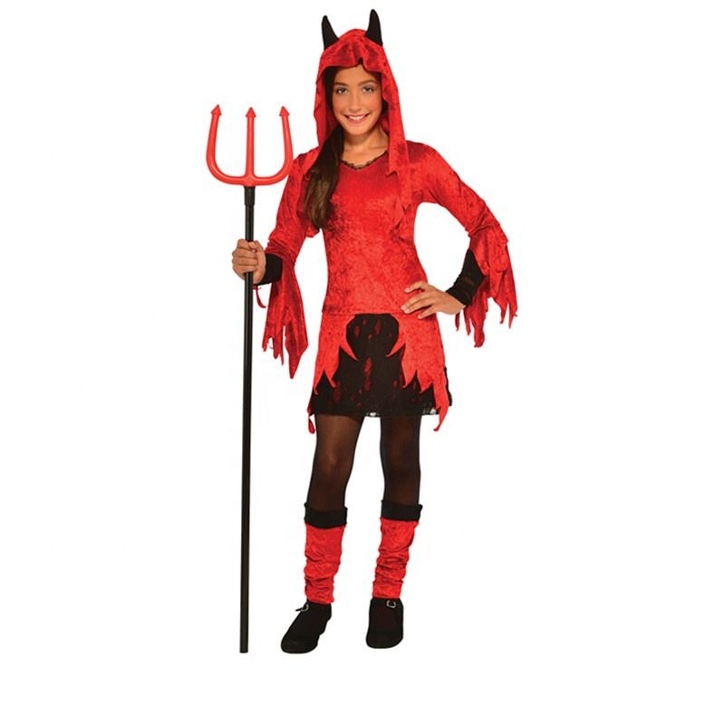 Masquerade Party Cosplay Kids Red Hot Devil Halloween Carnival Costume