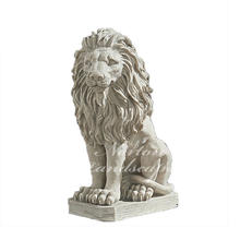 Western outdoor garden decoration natural stone lion sculpture life size white stone marble lion statue for sale