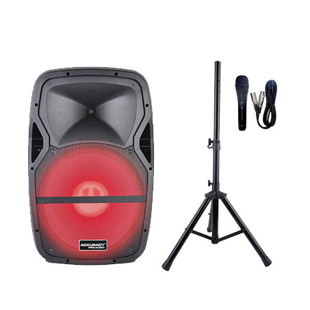 Accuracy Pro Audio PMW15AFQ-LED4-KIT Karaoke Powered Speaker Active Plastic 15'' 150W with Led Light Speakers Audio System