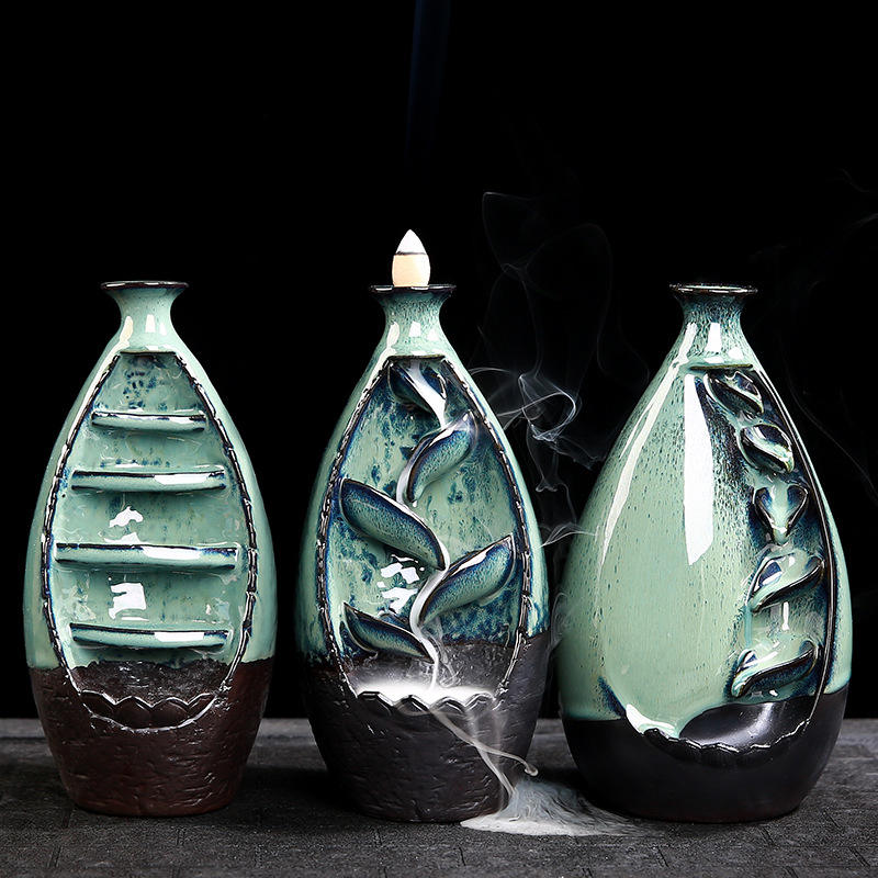 Backflow Incense Burner waterfall incense burner ceramic Backflow Cone Sticks Incense holder oud box mabkhara ceramic censer