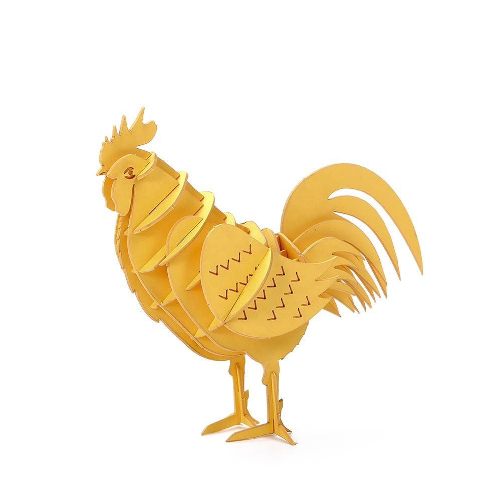 Educational funny rooster cardboard paper model 3d paper puzzle