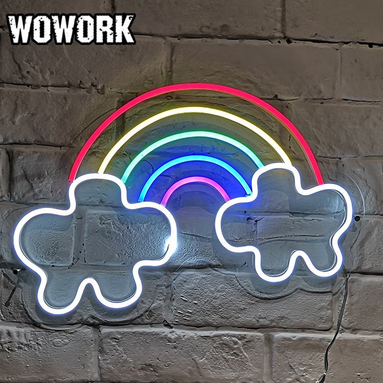 2020 WOWORK new products wedding favors RGBW rainbow love flexible neon tube sign with acrylic backdrop