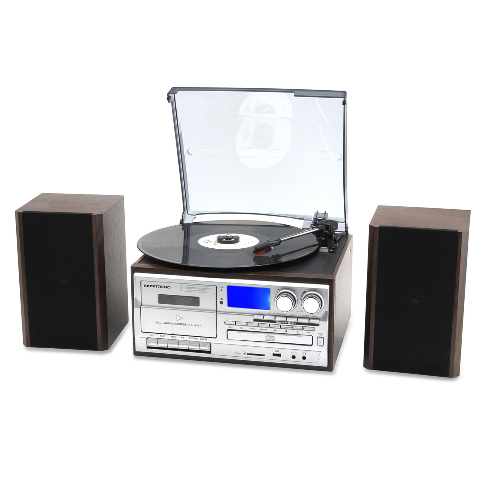 Wanling gramophone 3 speed tocadiscos turntable record player with USB+SD + radio/cassette