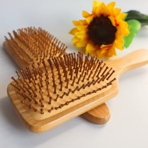 Eco friendly 100% natural custom logo Massage Scalp kids wood wooden baby set pick comb bamboo hair brush