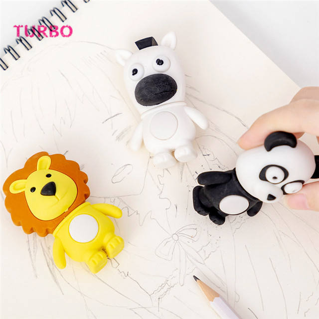 School Supplies eco friendly stationery 3d animal shapes eraser kawaii rubber erasers gift set from directly china manufacturer
