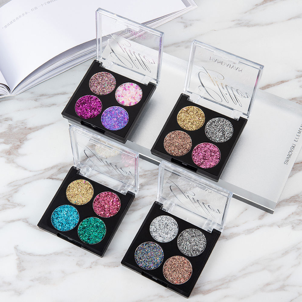 4 Colors Glitter The Shadows Diamond Sequins Eyeshadow Palette Matte Shimmer Eyeshadow Waterproof Makeup Cosmetics Set