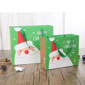 Fashional Korean style christmas cute cartoon gift packing paper bag with rope