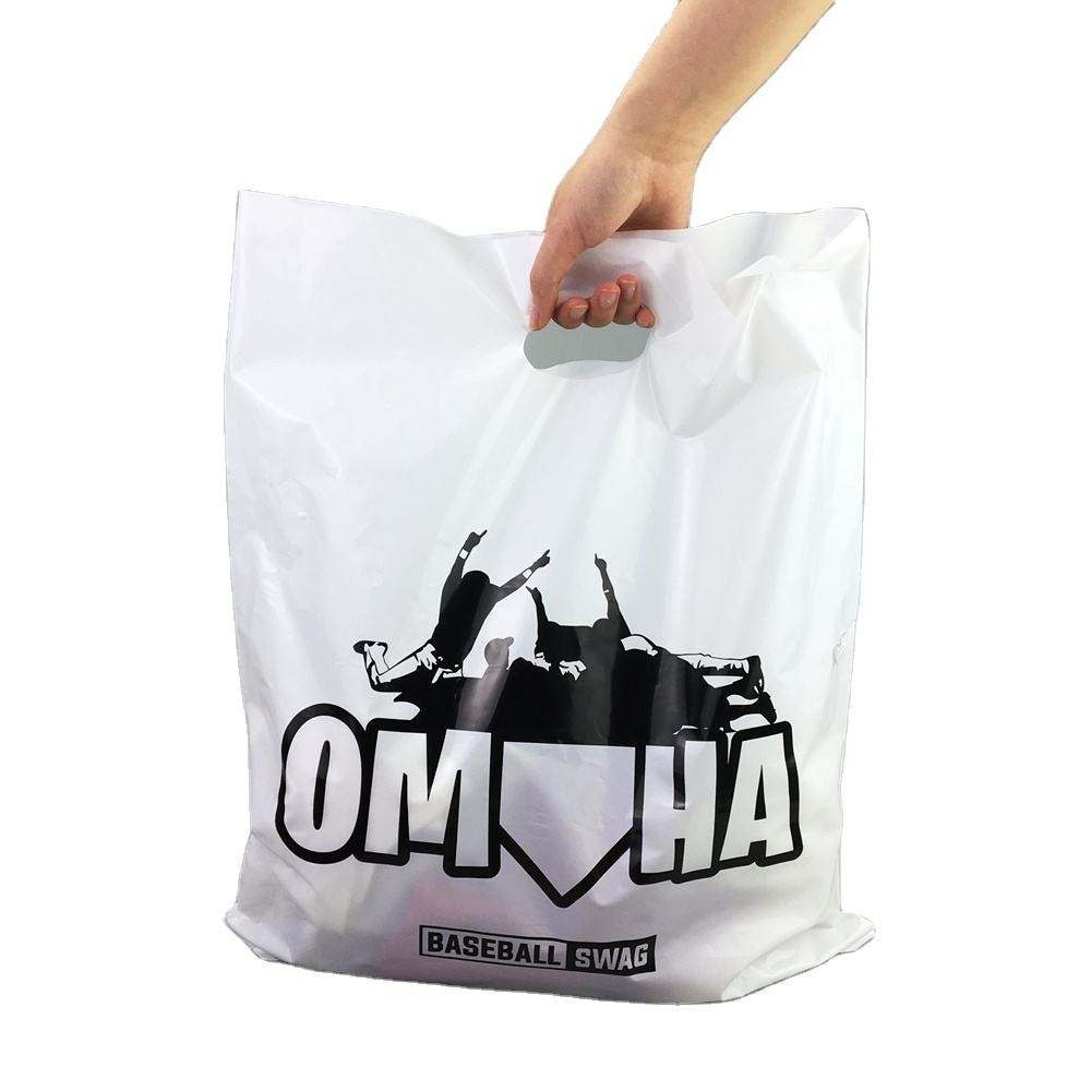 Custom printed plastic shopping bag shopping die cut bag plastic packaging bags with own logo